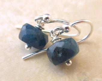 Teal Apatite Earrings, Teal Gemstone, Sterling Silver Earrings, Short Earrings, Petite Earrings