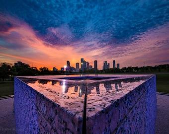 Houston Photography, Texas Photo, Sunrise, Houston Police Officer's Memorial, Skyline, City, Cityscape, Urban, Blue and Pink, Landacape