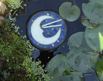 Floating Stained Glass Mosaic Sculpture, Moon Man, Water Garden, Outdoor Rooms, Home Decor, Glass Art for Ponds, Garden Decor, Celestial