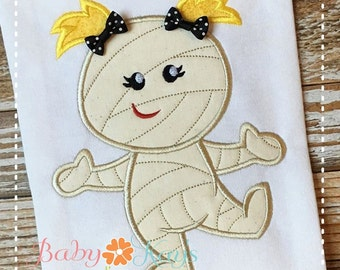 Mummy Girl with Pigtails Applique Design 4x4, 5x7, 6x10, 8x8
