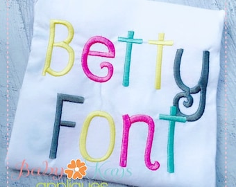 "Betty Embroidery Font 1"", 1.5"", 2"", 2.5"", 3"" and BX"