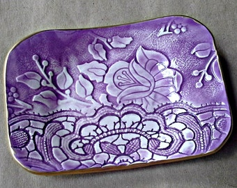 Ceramic Soap Dish Purple  edged in gold Trinket  Dish Soap Dish jewelry holder