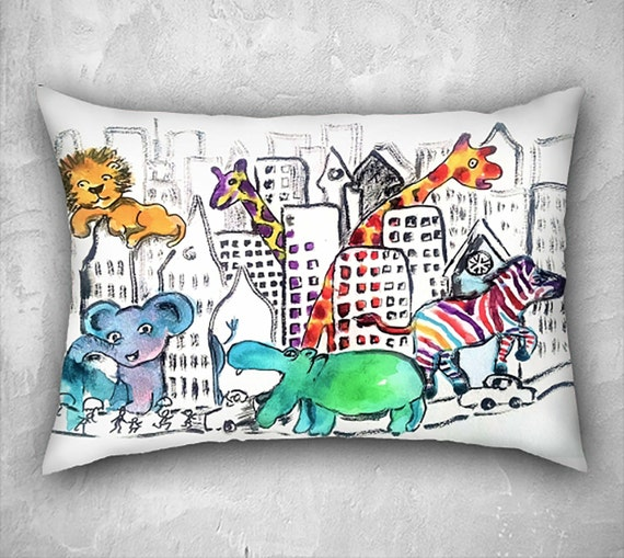 Zoo Animal Pillows : Zoo pillow animal pillow covers nursery pillows nursery