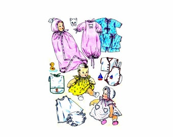 1950s Infants Layette Dress Panties Pinafore Bonnet Slip Playsuit Shirt Kimono Sleeping Bag Bunting Simplicity 1443 Vintage Sewing Pattern