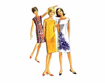 1960s McCalls 7196 Misses Shift Dress Vintage Sewing Pattern Size 12-13-14