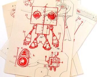 """JIMBOT gocco print """"Robot Layout"""""""