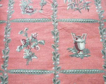Schumacher screen print linen cotton decorator fabric Drayton Lattice, brick rose, oak leaves, acorn, well, arrow