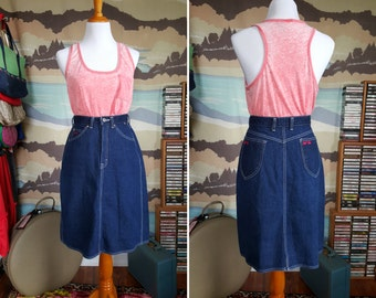Vintage Denim A-Line Skirt with Birds on Pockets