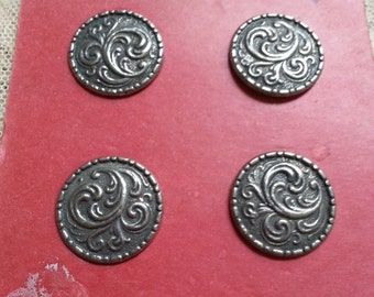 """EIGHT Vintage Pewter Buttons. Made in Norway. Measure 7/8""""."""