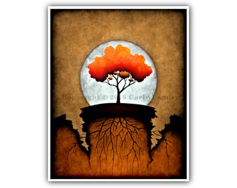 Tree & Roots Cracked Earth Art Print, Overcome, Minimalist Modern Contemporary Fine Artwork Vibrant Color Style Sizes 8x10 11x14 16x20 20x24