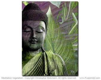 Meditation Vegetation - 11x14 Zen Buddha Art Canvas - Green and Purple Buddha Art by Christopher Beikmann