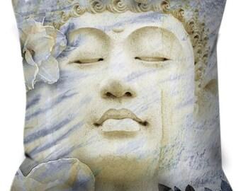 Buddha Throw Pillow - Blue and Tan Buddhist Art Pillow - Zen Home Decor - Inner Infinity by Christopher Beikmann