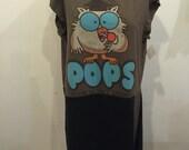 Tootsie Pop Tunic, Womens repurposed t-shirts dress, owl large jumper, tshirt dress, vacation dress, tootsie pop, licks, brown black cotton