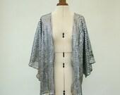Silver kimono, Disco Fever, Kimono Jacket, silver, sparkly, shimmer, glitter, sequin, silver foil, small, medium, festival, sequin kimono,