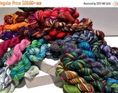 Christmas in July SALE mini skeins, One quarter to whole Pound, sock fingering weight yarn, Beekeeper, hexipuff, scrap quilt, mini skein gra