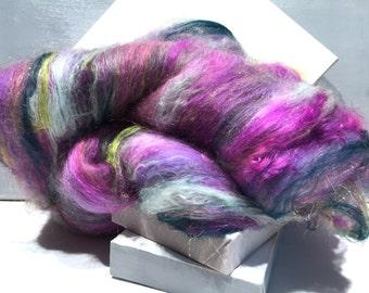 "Fiber Art Batt Roving,""Bouquet of Lilacs "" Lilac purple Lavender, gold, pink, hunter green, sage, yellow green, needle nuno felting wool"