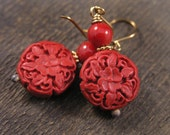 Red cinnabar flower design carved large beads, bamboo coral beads and gold handmade earrings