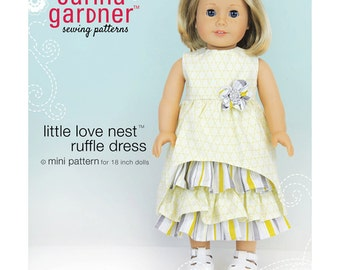 """SALE - Little Love Nest Ruffle Dress sewing pattern for 18"""" dolls from Carina Gardner"""