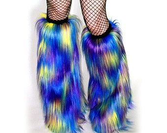 Rave Fluffies Multi-Color Blue Yellow Purple Fuzzy Boot Covers