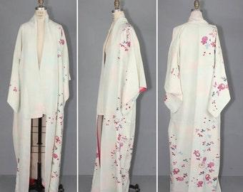 kimono sale / vintage kimono / silk robe / LITHE WATERCOLOR floral dressing gown