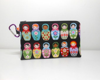 Matryoshka Nesting Dolls Coin Purse, Extra Large Carabiner Clip Change Purse, Padded Zipper Pouch