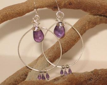 Hammered Sterling & Amethyst Earrings