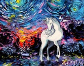 Last Unicorn Art - Starry Night Giclee print Regret by Aja 8x8, 10x10, 12x12, 20x20, and 24x24 inches choose your size