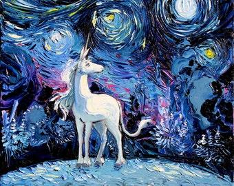 Last Unicorn Art CANVAS print Starry Night van Gogh Never Saw The Last Aja 8x8 10x10 12x12 16x16 20x20 24x24 30x30 Fantasy Art Home Decor
