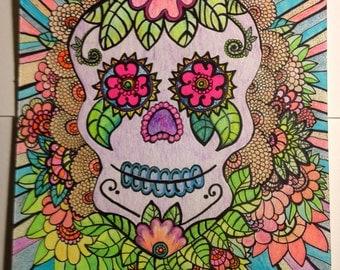 Zentangle Doodle Mexican Dia de los Muertos Psychedelic Sugar Skull Calavera Black Light Illustration UV Reactive Day Glo 9x12 Art