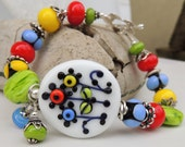 BLOOM Where YOU are PLANTED Handmade Lampwork Bead Bracelet