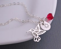 Hummingbird Necklace, Personalized Hummingbird Jewelry with Ruby Red Crystal in Sterling Silver