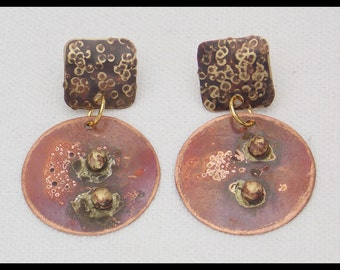 SERA - Handforged Copper and Bronze 2 Section Post Earrings