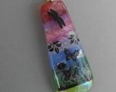 Dragonfly Pendant, Scenic Dichroic Pendant,  Landscape Pendant, Nature Jewelry, Rainbow Glass Pendant,  Fused Glass Jewelry