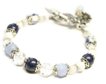 Blubelle Gemstone bracelet-Sodalite,Lapis,Blue Lace Agate,Rock Crystal,Howlite,Moonstone-alleviates headaches,anxiety,stress,overactive mind