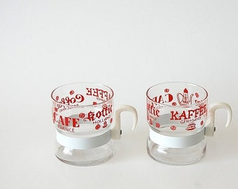sale pair vintage Coffee Cups / typography Set of 2 Demitasse Espresso mugs / Red White / Coffee Cafe Koffie Kaffee / scandinavian