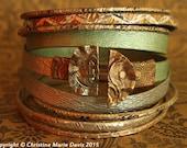 pale green, gold and silver boho GYPSY bangle stack .... smashed knitting needle bracelets and beaten bollywood bangles  boho gypsy style