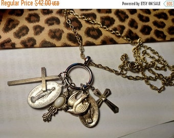 Holy Relics Long Mixed Metal Gold Silver Tone Charm Necklace with Vintage Religious Medals and Crosses Virgin Mary