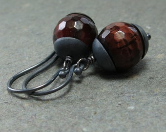 Red Tiger Eye Earrings Large Gemstones Oxidized Sterling Silver Earrings Gift for Her