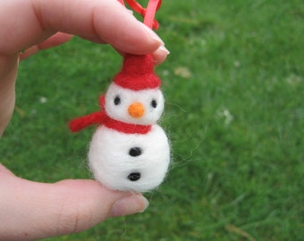 Needle Felted Snowman Ornament Red Scarf and Hat
