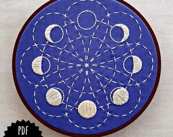 LUNAR BLOSSOM - pdf embroidery pattern, embroidery hoop art, phases of the moon, la luna, lunar cycle, sashiko style, blue moons,  celestial