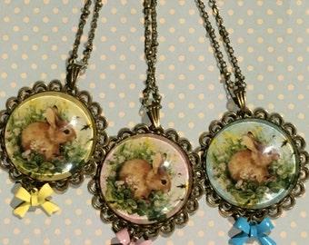 Little brown bunny filigree cabochon pendant necklace