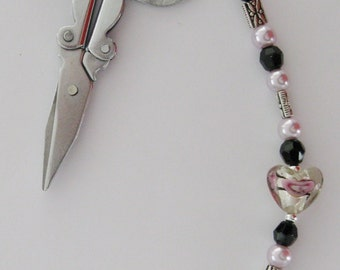"Scissor Fob -Glass Lampwork Heart Bead, Black Czech Crystal, Pink Glass Pearls, and Pewter - 6"" Long - Fob 10"