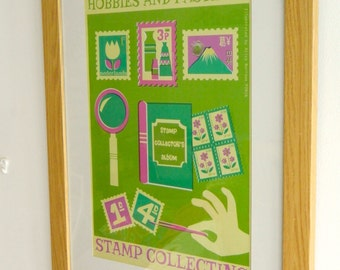Retro Hobbies and Pastimes A3 Poster Print - Stamp Collecting