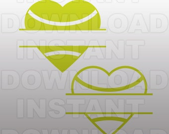 Tennis Ball Heart Split Monogram SVG File,Tennis SVG -Commercial & Personal Use- Vector SVG for Cricut,Silhouette Cameo,iron on vinyl design