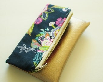 Mini fold over clutch, zippered pouch, spring floral