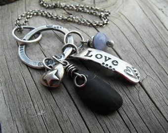 Love Silver Ring Charm Neckalce Purple Agate + River Rock
