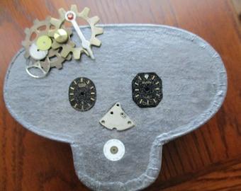 Paper Mache Frida Kahlo Steampunk Skull Jewelry Box