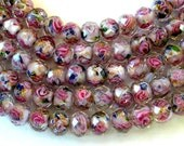 Pink Flower Crystal Beads 7x10mm Beads (25)