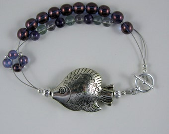 Angel Fish Gemstone Abacus Bracelet for Knitting and Crochet - Item No. 993