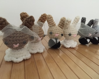 Custom Bride or Groom Moon Bun - Amigurumi Wedding Bunny Rabbits - Choose Your Own Color